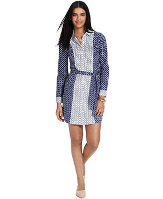 Tommy Hilfiger Long-Sleeve Printed Colorblocked Shirtdress