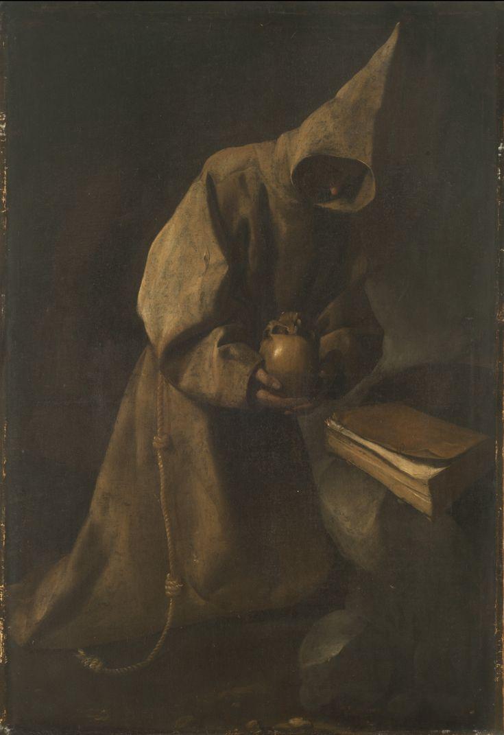"  Francisco de Zurbarán   ""San Francisco en meditación""   1632   Óleo sobre tela   114 x 78 cm. - Marco: 144 x 106 cm.   Inv. 8617   http://www.mnba.gob.ar/coleccion/obra/8617  "