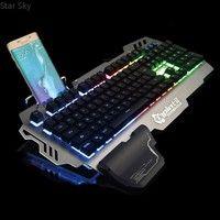 Wish | Brand PK-900 Colorful Backlight Gaming Keyboard Mechanical Feeling 104 Keys Waterproof ABS Material Keyboard for PC Laptop Star Sky