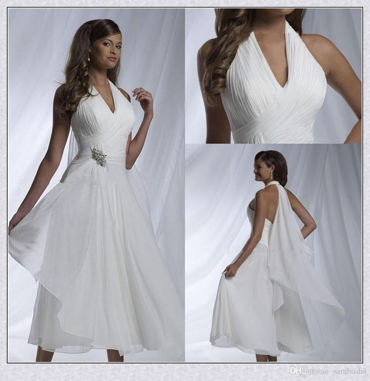 Simple Elegant Tea Length Chiffon Cap Sleeve Wedding: Best 25+ Halter Wedding Dresses Ideas On Pinterest