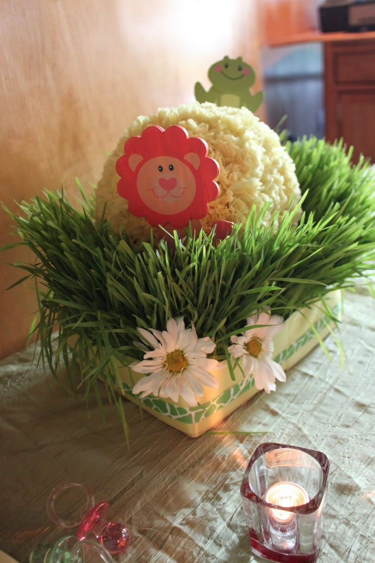 Winnie the pooh baby shower centerpiece ideas 48pc baby shower winnie - Safari Baby Shower Centerpiece Girl It Up More But I Like The Grass Safari Decorations