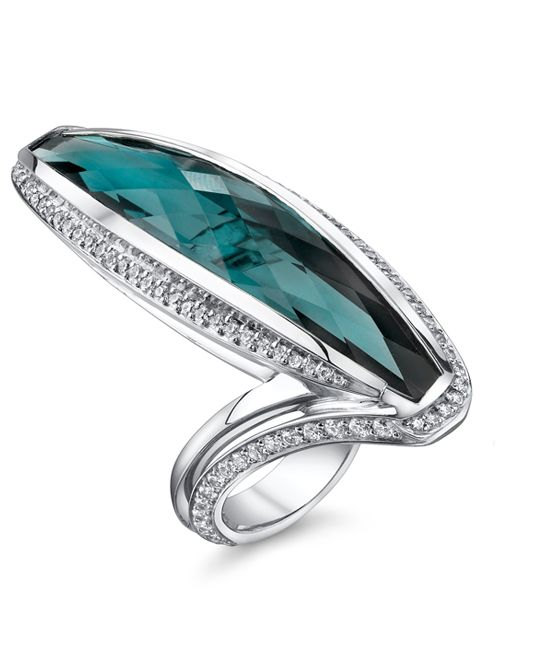 Princess Blue-Green Tourmaline Ring - Mark Schneider Design  ...  LOVE the stone, but the setting I'm not that crazy about [too narrow]