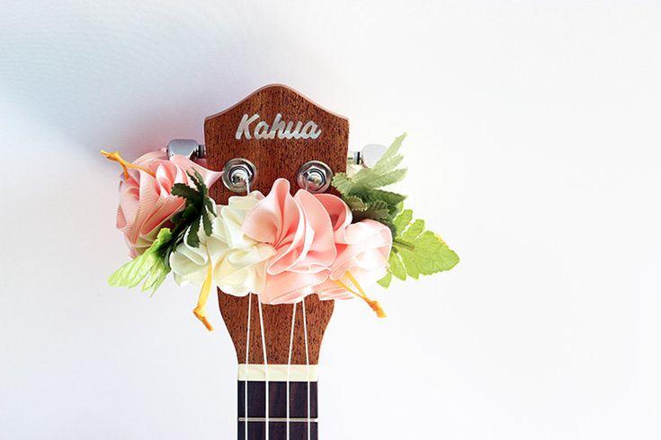 ribbon lei for ukulele / W&P hibiscus  / ukulele accessories / ukulele decor / mandolin / banjo / hawaiian lei /  satin ribbon/flower ribbon