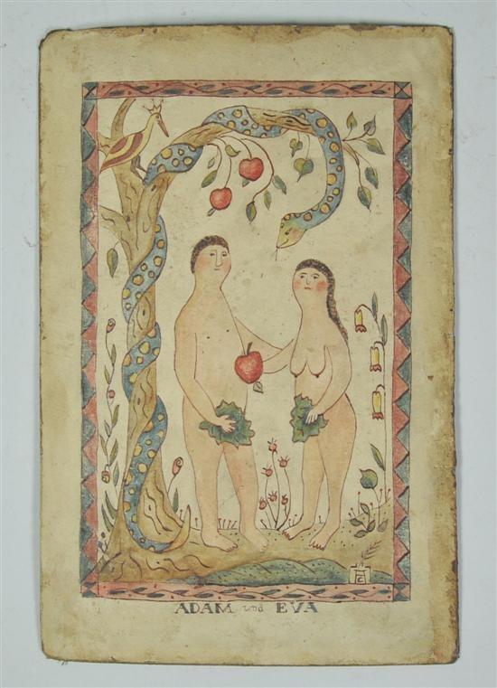 "Adam and Eva; 19th century folk art watercolor, 9x6"""