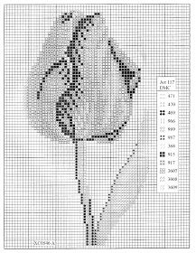 Cross Stitch Mania: Pink Tulip Cross Stitch Chart Free