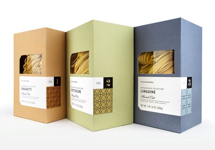 """""""As part of the new 'pantry essentials' line of products within the Williams-Sonoma stores, this package was meant to be a modern interpretation of simple and classic pasta packaging. The intention was for it to feel high-end and artisanally crafted to highlight the single origin nature of the semolina flour used to made this hand-cut pasta"""", byWilliams-Sonoma Brand Packaging Dept. US"""