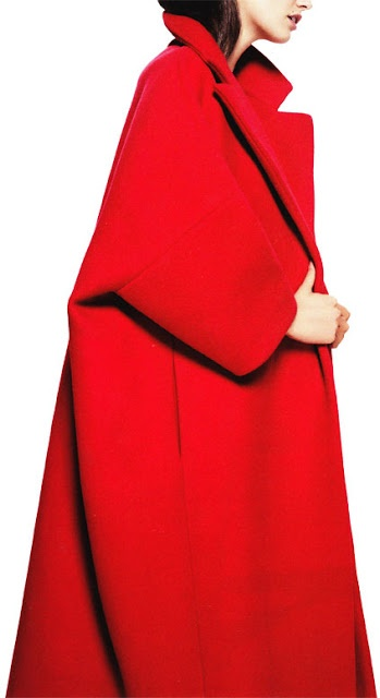 red Jil Sander coat