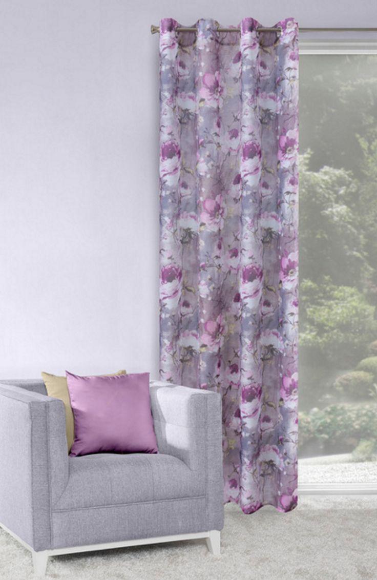 Fioletowa dekoracyjna zasłona w kwiaty
