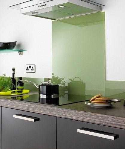 Green glass splash back to go in cream kitchen