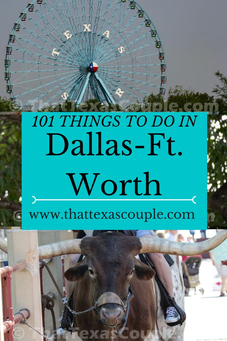 Planning a trip to Dallas?  Everyone knows that everything is bigger in Texas, and Dallas is no exception.  You won't run out of things to do in the Dallas/Fort Worth area, that's for sure.  We have a great list to get you started.  Our 101 Things to do in Dallas/Fort Worth will definitely keep you busy!  #dallas #fortworth #thingstodoindallas #thingstodoinfortworth #visittexas #visitdallas  via @https://www.pinterest.com/thattexascouple