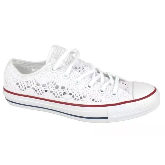 Converse All Star White Crochet Women's Shoes Converse All Star White Crochet 549314 Women's size 6, 7, & 8available.  New In Box, RARE. Super cute sneakers perfect for summer! All Star logo on the tongue with white laces. ❌PRICE FIRM UNLESS BUNDLED. I DON'T TRADE❌ Converse Shoes Sneakers