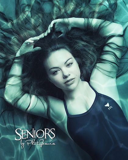Underwater swimming senior picture idea for girl swimmers. #swimmingseniorpicturesideas #swimmingseniorpictures #seniorsbyphotojeania