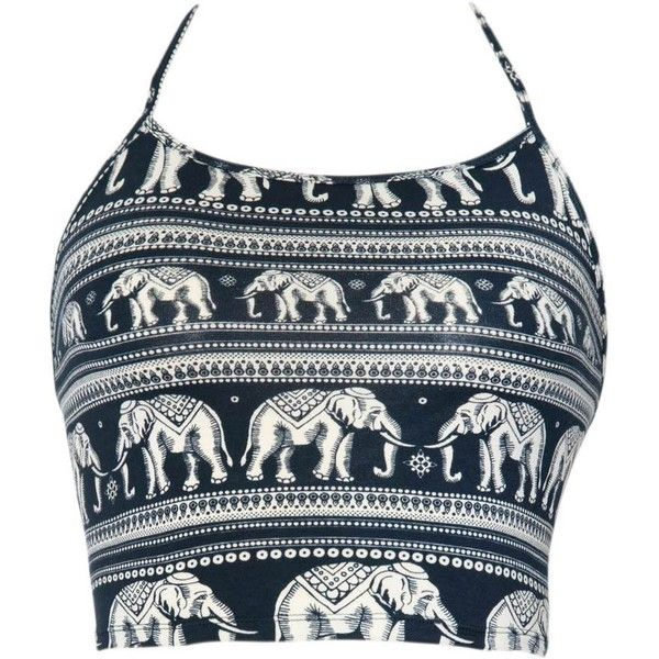 Fonda Halter Crop in Elephant Parade Black and White by Motel ($18) ❤ liked on Polyvore featuring tops, crop top, cropped, shirts, shirts & tops, halter shirts, elephant crop top, open back crop top and neck ties