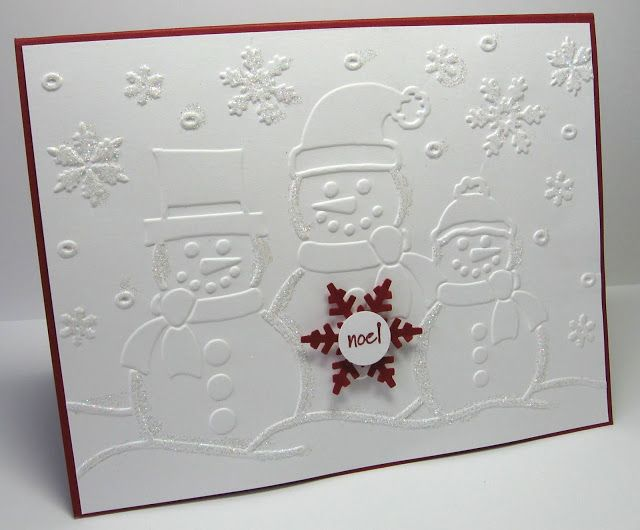 stamping up north: Christmas cards I wondered what you could do with the snowmen embossing folder...simple idea.