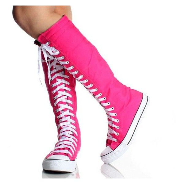 Converse knee high boots are both popular in the winter and summer. These boots go up to knees and range from sizes in women With Converse knee high boots you are able to change up the laces with all different colors!
