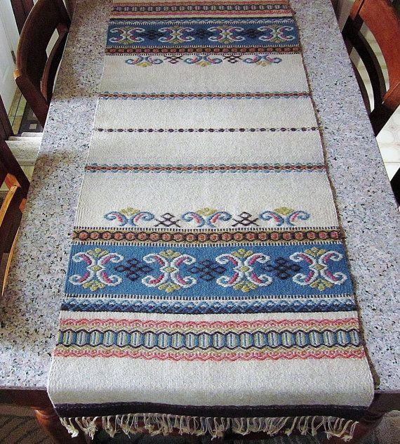 Vintage Norwegian Wool Weaving - Antique Scandinavian Table Runner - Rustic Nordic Cabin Decor - Primitive Colorful Hand Loomed Textile Fabulous antique