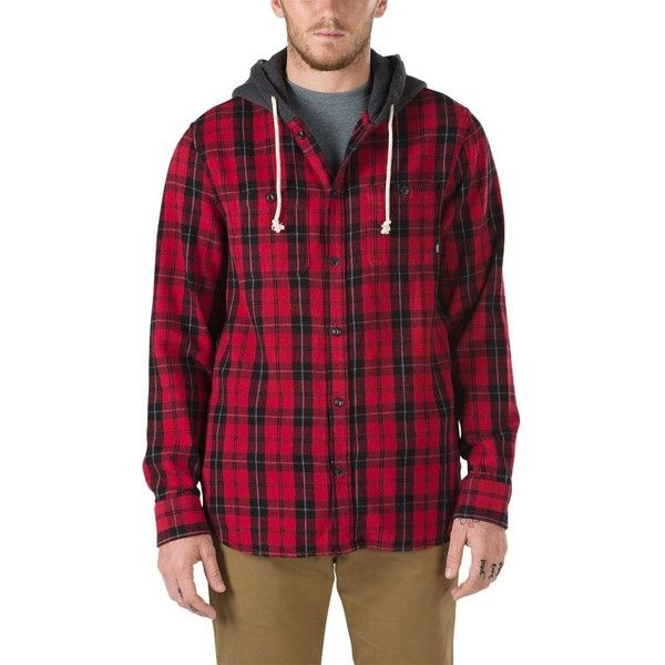 Vans Lopes Buttondown Flannel Hoodie ($70) ❤ liked on Polyvore featuring men's fashion, men's clothing, men's hoodies, red, mens sweatshirt hoodies, mens flannel hoodies, mens tall hoodies, mens hoodies and vans mens hoodies