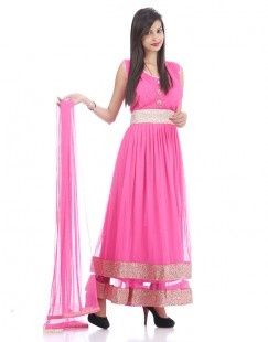 Princess Style Magnificent Hot Pink Net Anarkali Suit