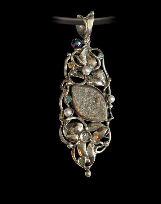 RAINBOW DRUZY Pendant, Big Pendant, Artisan Pendant, Sterling Silver 925, Handcrafted Pendant by AlenaZenaJewelry on Etsy