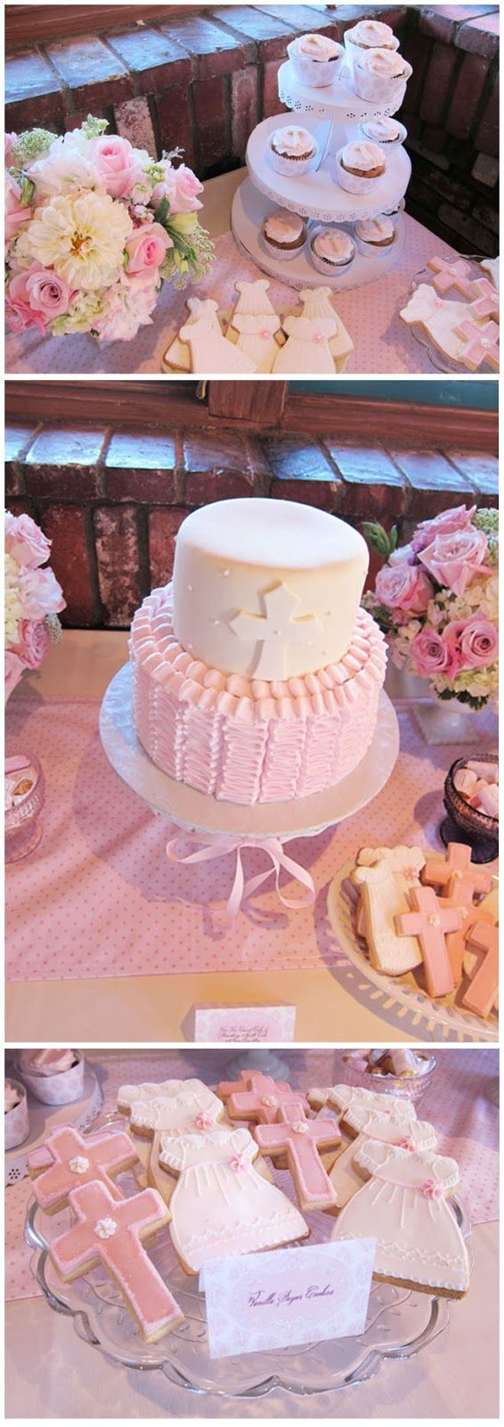 Baby girl baptism or christening celebration dessert table. www.greenbeansieink.com
