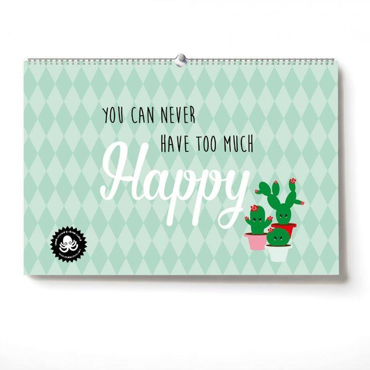 Verjaardagskalender You can never have too much Happy bestaat uit de pasteltinten roze en mint in combinatie metzwart. O.a onze bekende batbunny, flamingo, cactus en eenhoorn met quotes staan erop.Het is een eigentijdse kalender die overal mooi staat. Zo kun je geen verjaardag meer vergeten.Leuk om zelf te hebben of om te geven als verjaardagscadeau.