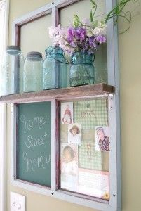 turn into a chore board ( fabric behind one pane dry erase marker, cork board with clothes pins/pins for recipes, and fabric with names and dry earse marker fr chore done or needs to be done.....DIY : OLD WINDOW INTO POTTERY BARN KNOCK OFF.
