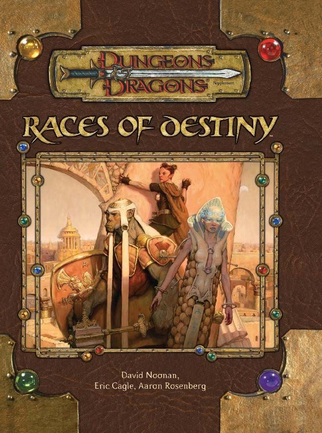 Races of Destiny (3.5)   Book cover and interior art for Dungeons and Dragons 3.0 and 3.5 - Dungeons & Dragons, D&D, DND, 3rd Edition, 3rd Ed., 3.0, 3.5, 3.x, 3E, d20, fantasy, Roleplaying Game, Role Playing Game, RPG, Open Game License, OGL, Wizards of the Coast, WotC, TSR Inc.   Create your own roleplaying game books w/ RPG Bard: www.rpgbard.com   Not Trusty Sword art: click artwork for source