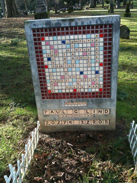 "If I wasn't being cremated, I'd want a headstone like this. ""Scrabble Headstone, Lone Fir Cemetary, Portland, Oregon"""
