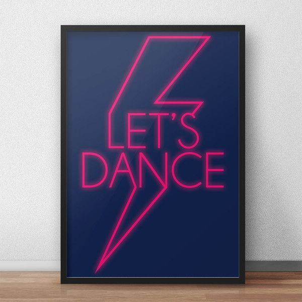 Lets Dance, David Bowie Posters, Retro Poster, Typography Wall Art,... ($5) ❤ liked on Polyvore featuring home, home decor, wall art, dance posters, david bowie poster, text signs, typography signs and typography poster