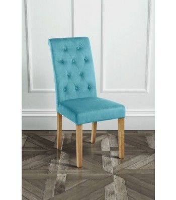 Genoa Teal Upholstered Scroll Back Dining Chair with Natural Legs