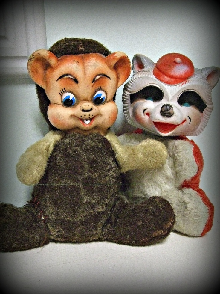 Rushton Bear and Raccoon 1950s-1960s: Vintage Rubber, Face Stuffed, Creepy Stuffed, Face Friends, Rubber Face, Rushton Bears, Stuffed Animals Bears, Rushton Toys, Animal Rushton