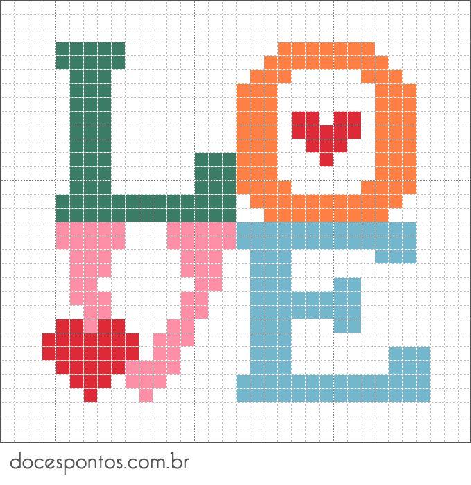 LOVE perler bead pattern - Doces Pontos