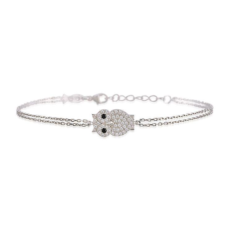 Owl bracelet with genuine cubic zirconia