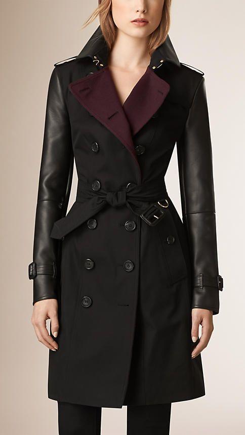 Noir Trench-coat en gabardine de coton avec éléments en cuir - Image 1