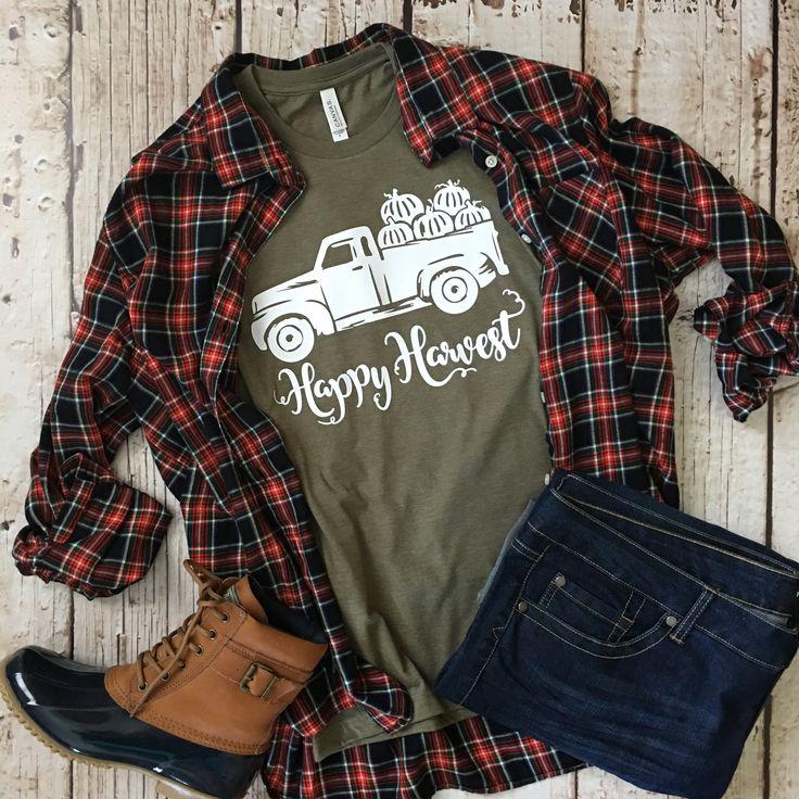 Happy Harvest Tee, Fall Shirts, Fall Tees, Autumn Tee, Pumpkin Shirt, Pumpkin Everything, Cute Tee, Cute Fall Shirt, Fall Festival, Pumpkins