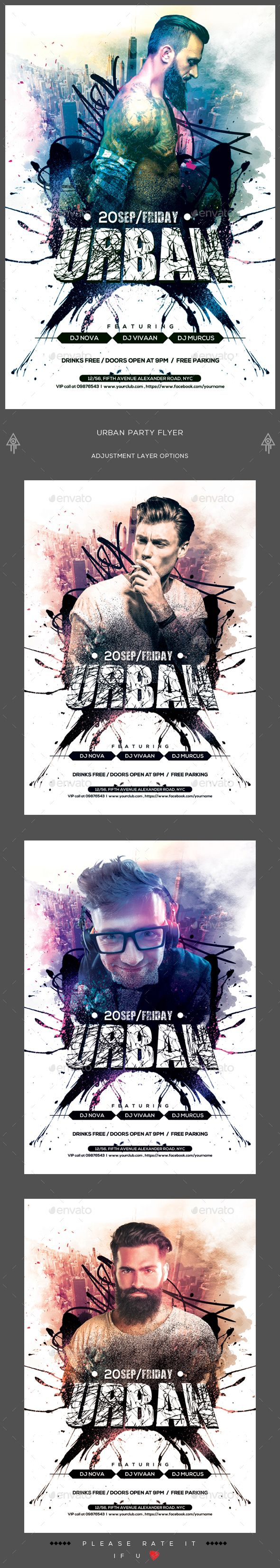 Urban Party Flyer  — PSD Template #models and bottles #night club flyer • Download ➝ https://graphicriver.net/item/urban-party-flyer/17999263?ref=pxcr