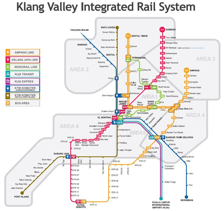 Kuala Lumpur LRT KTM and Monorail map - Click to enlarge