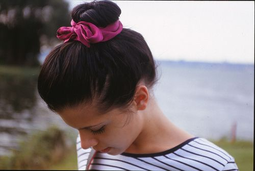 : Simple Beautiful, Pink Ties, Bows Buns, Hairstyles Inspiration, Pink Bows, Hair Style, Thick Hair, Socks Buns, Perfect Buns