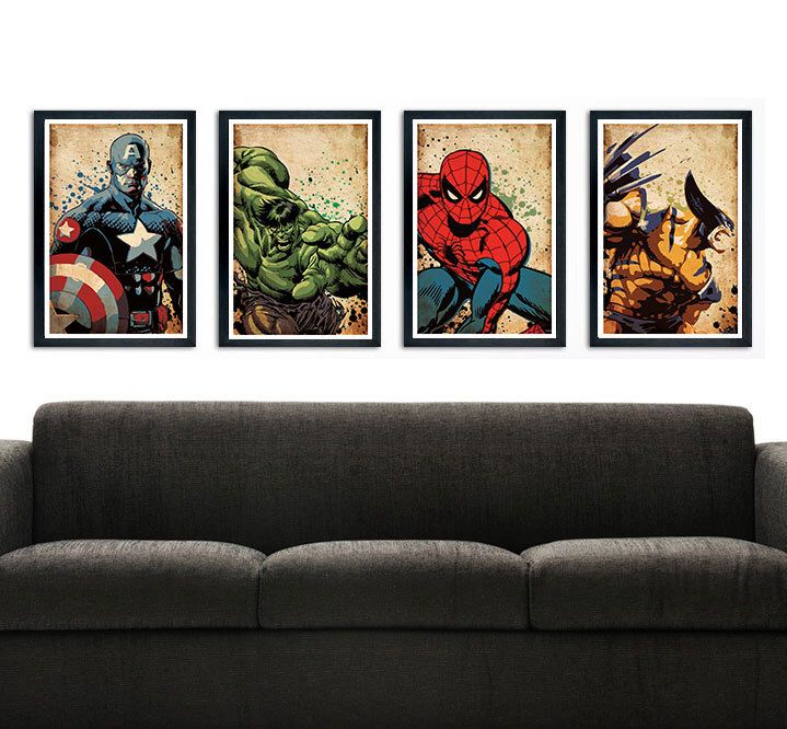 Avengers Poster – wall decor 11 x 17 Captain America Hulk Spiderman Wolverine by PropagandaPrints on Etsy https://www.etsy.com/listing/243745788/avengers-poster-wall-decor-11-x-17