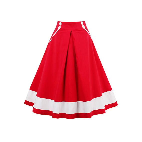 women vintage skirt summer red white striped skirts female nautical style a line pretty vintage 2017 new skirts