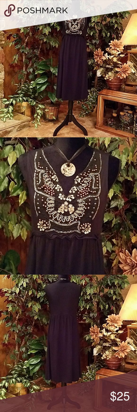 "Dress These  empire waist dresses  are quite comfy and easy fit any casual event. Professionally shortened to 40"" shoulder to hemline, armpit to armpit 18"", bust line 19"". Enlarge photo to reveal ""V"" neck adorned with sequins, various sizes and colors of beads . Boston Proper Dresses Midi"