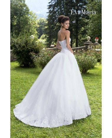 IRIS - krásne luxusné dlhé svadobné šaty s čipkovaným živôtikom a širokou tylovou sukňou zdobenou čipkou
