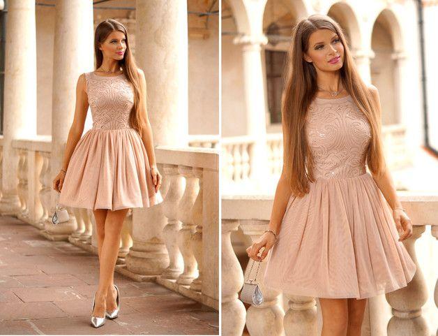 Ekskluzywna sukienka nude - IlluminateComPl - Suknie wieczorowe