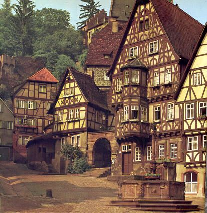 "medieval homes germany | Houses and the striking ""Giant's Inn"" at Miltenberg, Germany."