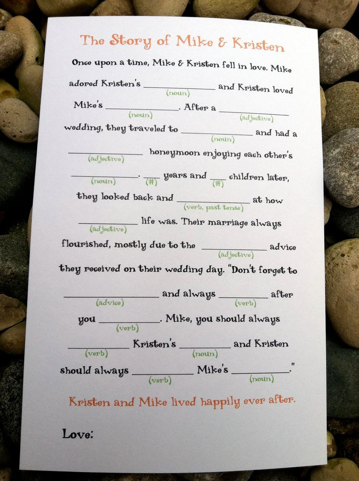 "NEW ""Once Upon a Time"" Wedding Mad Lib Story. $15.00, via Etsy."
