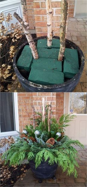 How to create colorful winter outdoor planters and beautiful Christmas planters with plant cuttings and decorative elements that last for a long time. They will look amazing from Thanksgiving through New Year! - A Piece of Rainbow