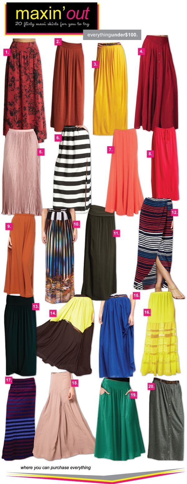 link is broken, but these are all cute. maxi skirts are my new thing. i have one that looks exactly like (and may actually be) #7. sooo comfy and i got three compliments from total strangers within an hour of wearing it!