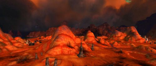 World of Warcraft - Blasted Lands region. Some old-school WOW. Not much is left of the landscape after the magical blast the opened the Dark Portal to Draenor. Even the plants will not grow there any more.  #wow #screencaps #gaming #mountain #hill #rock #worldofwarcraft