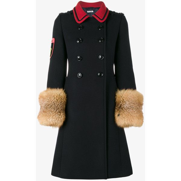 Miu Miu contrast detail double breasted coat (€2.695) ❤ liked on Polyvore featuring outerwear, coats, navy sport coat, navy blue coats, knee length coat, navy sports coat and sports coat