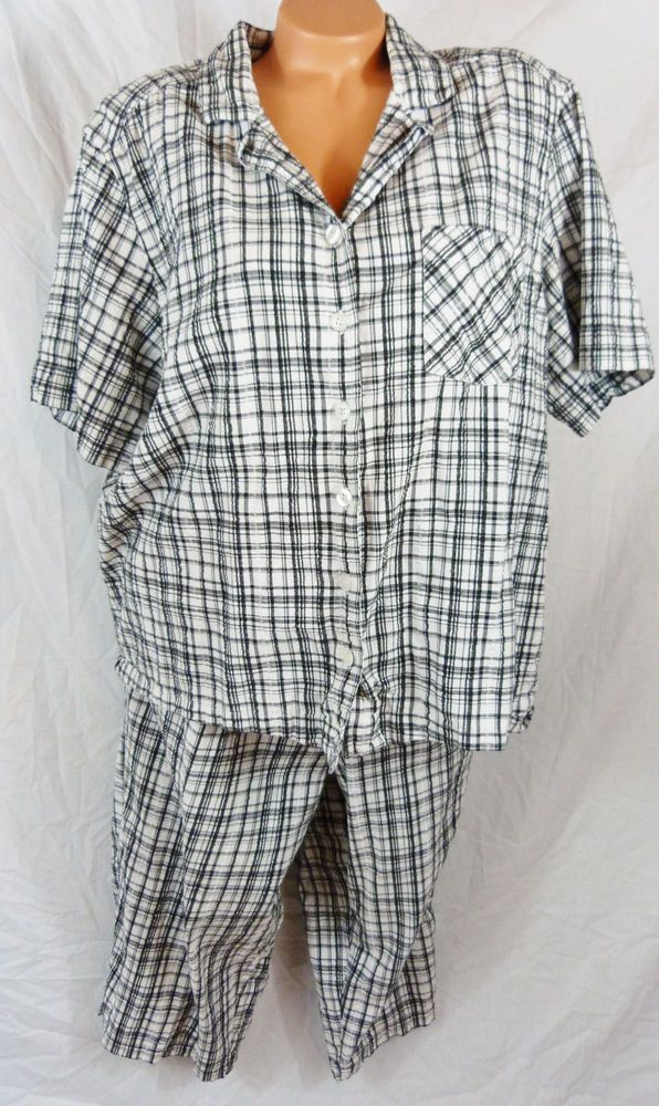 Womens Erika Plus Size 3x Cotton Shirt Capri Set Black White Plaid ...